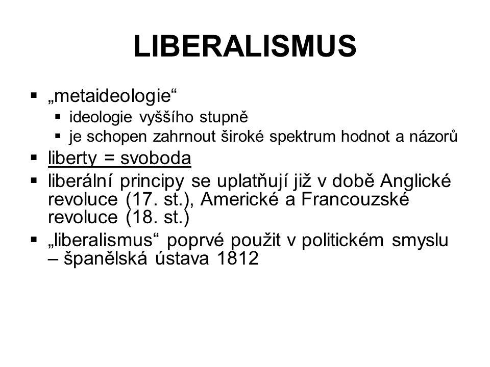 """LIBERALISMUS  """"metaideologie  ideologie vyššího stupně  je schopen zahrnout široké spektrum hodnot a názorů  liberty = svoboda  liberální principy se uplatňují již v době Anglické revoluce (17."""