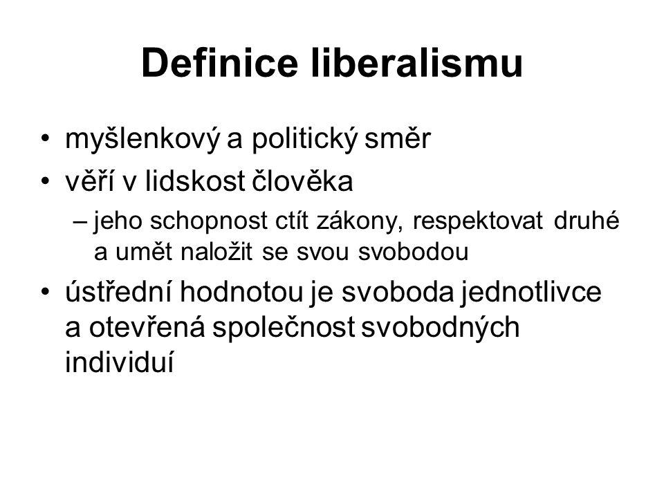 Definice liberalismu myšlenkový a politický směr věří v lidskost člověka –jeho schopnost ctít zákony, respektovat druhé a umět naložit se svou svobodou ústřední hodnotou je svoboda jednotlivce a otevřená společnost svobodných individuí