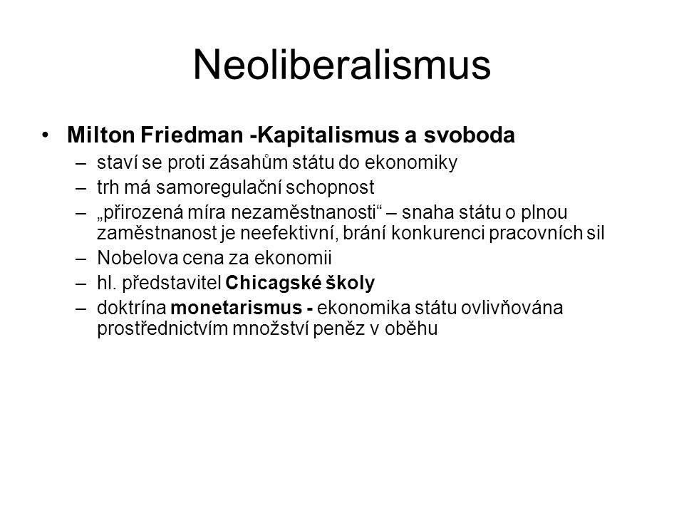 """Neoliberalismus Milton Friedman -Kapitalismus a svoboda –staví se proti zásahům státu do ekonomiky –trh má samoregulační schopnost –""""přirozená míra nezaměstnanosti – snaha státu o plnou zaměstnanost je neefektivní, brání konkurenci pracovních sil –Nobelova cena za ekonomii –hl."""