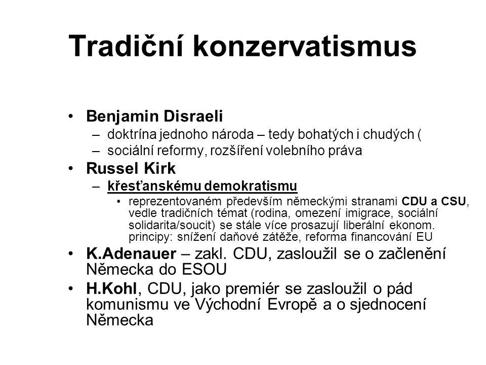 Tradiční konzervatismus Benjamin Disraeli –doktrína jednoho národa – tedy bohatých i chudých ( –sociální reformy, rozšíření volebního práva Russel Kirk –křesťanskému demokratismu reprezentovaném především německými stranami CDU a CSU, vedle tradičních témat (rodina, omezení imigrace, sociální solidarita/soucit) se stále více prosazují liberální ekonom.