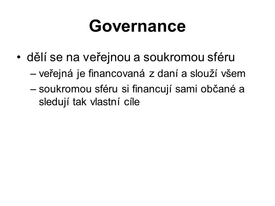 Governance dělí se na veřejnou a soukromou sféru –veřejná je financovaná z daní a slouží všem –soukromou sféru si financují sami občané a sledují tak vlastní cíle