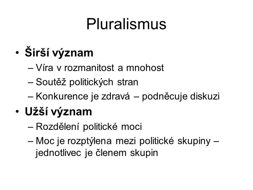 Pluralismus Širší význam –Víra v rozmanitost a mnohost –Soutěž politických stran –Konkurence je zdravá – podněcuje diskuzi Užší význam –Rozdělení politické moci –Moc je rozptýlena mezi politické skupiny – jednotlivec je členem skupin