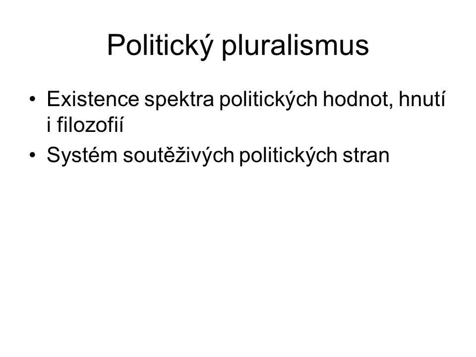 Politický pluralismus Existence spektra politických hodnot, hnutí i filozofií Systém soutěživých politických stran