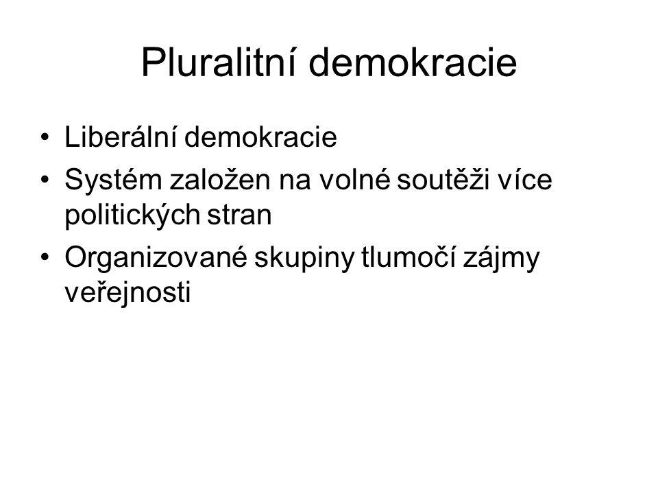 Pluralitní demokracie Liberální demokracie Systém založen na volné soutěži více politických stran Organizované skupiny tlumočí zájmy veřejnosti