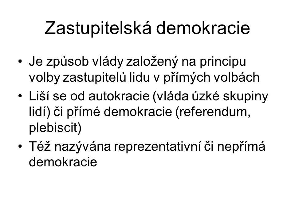 Zastupitelská demokracie Je způsob vlády založený na principu volby zastupitelů lidu v přímých volbách Liší se od autokracie (vláda úzké skupiny lidí) či přímé demokracie (referendum, plebiscit) Též nazývána reprezentativní či nepřímá demokracie