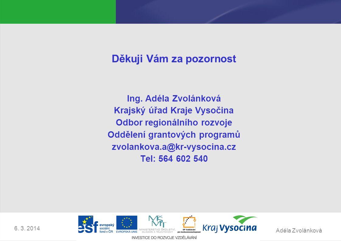 Adéla Zvolánková 6. 3. 2014 Děkuji Vám za pozornost Ing.