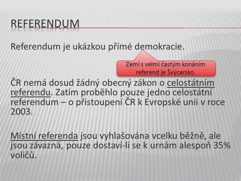 Referendum je ukázkou přímé demokracie. ČR nemá dosud žádný obecný zákon o celostátním referendu. Zatím proběhlo pouze jedno celostátní referendum – o