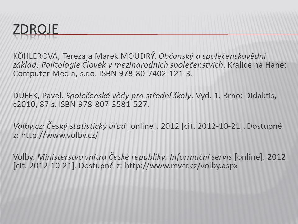 KÖHLEROVÁ, Tereza a Marek MOUDRÝ. Občanský a společenskovědní základ: Politologie Člověk v mezinárodních společenstvích. Kralice na Hané: Computer Med