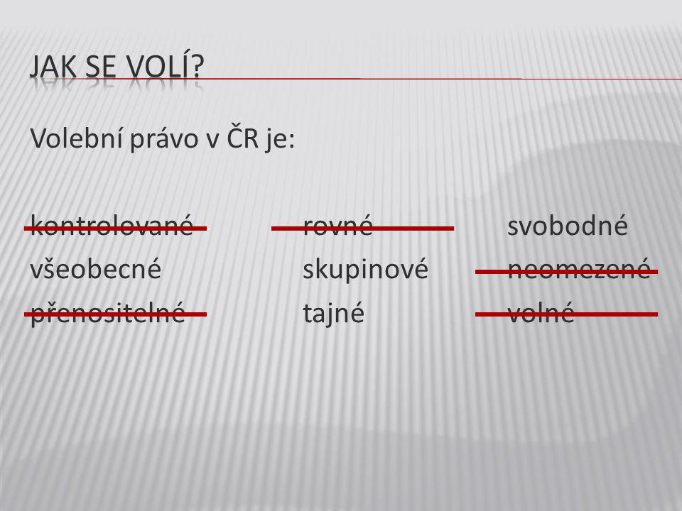 Volební právo v ČR je: kontrolované rovnésvobodné všeobecné skupinovéneomezené přenositelnétajnévolné