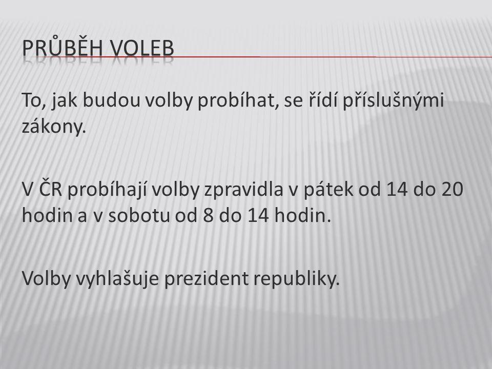 To, jak budou volby probíhat, se řídí příslušnými zákony. V ČR probíhají volby zpravidla v pátek od 14 do 20 hodin a v sobotu od 8 do 14 hodin. Volby