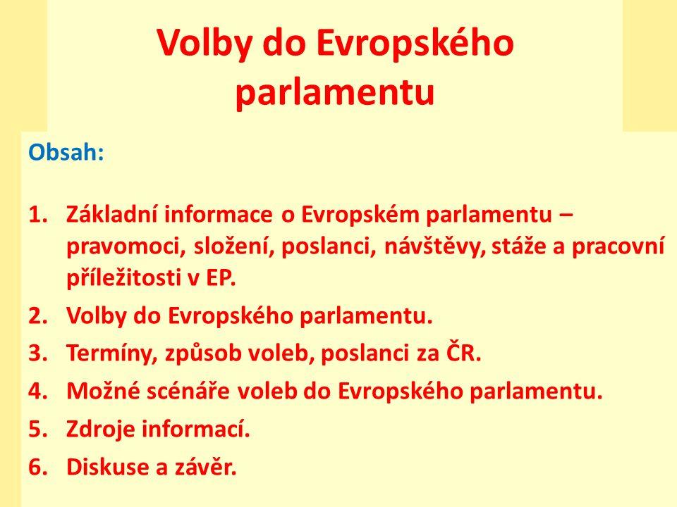 Volby do Evropského parlamentu Obsah: 1.Základní informace o Evropském parlamentu – pravomoci, složení, poslanci, návštěvy, stáže a pracovní příležitosti v EP.