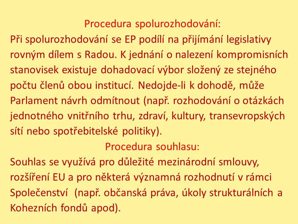 Procedura spolurozhodování: Při spolurozhodování se EP podílí na přijímání legislativy rovným dílem s Radou. K jednání o nalezení kompromisních stanov