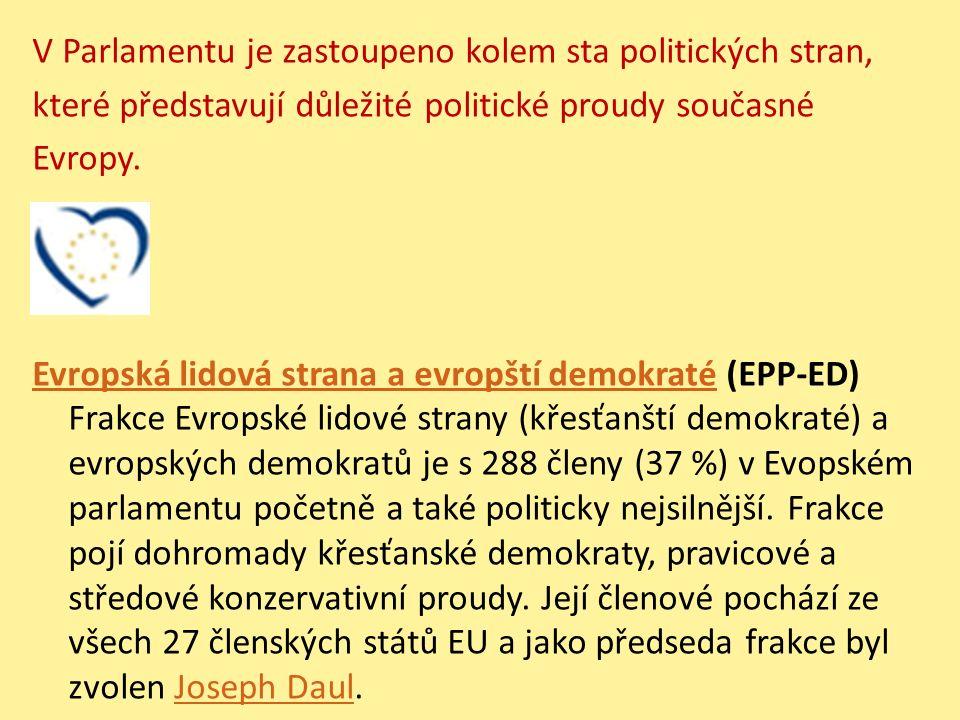 V Parlamentu je zastoupeno kolem sta politických stran, které představují důležité politické proudy současné Evropy. Evropská lidová strana a evropští