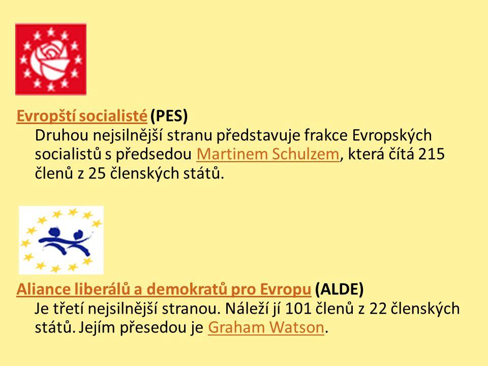 Evropští socialistéEvropští socialisté (PES) Druhou nejsilnější stranu představuje frakce Evropských socialistů s předsedou Martinem Schulzem, která čítá 215 členů z 25 členských států.Martinem Schulzem Aliance liberálů a demokratů pro EvropuAliance liberálů a demokratů pro Evropu (ALDE) Je třetí nejsilnější stranou.