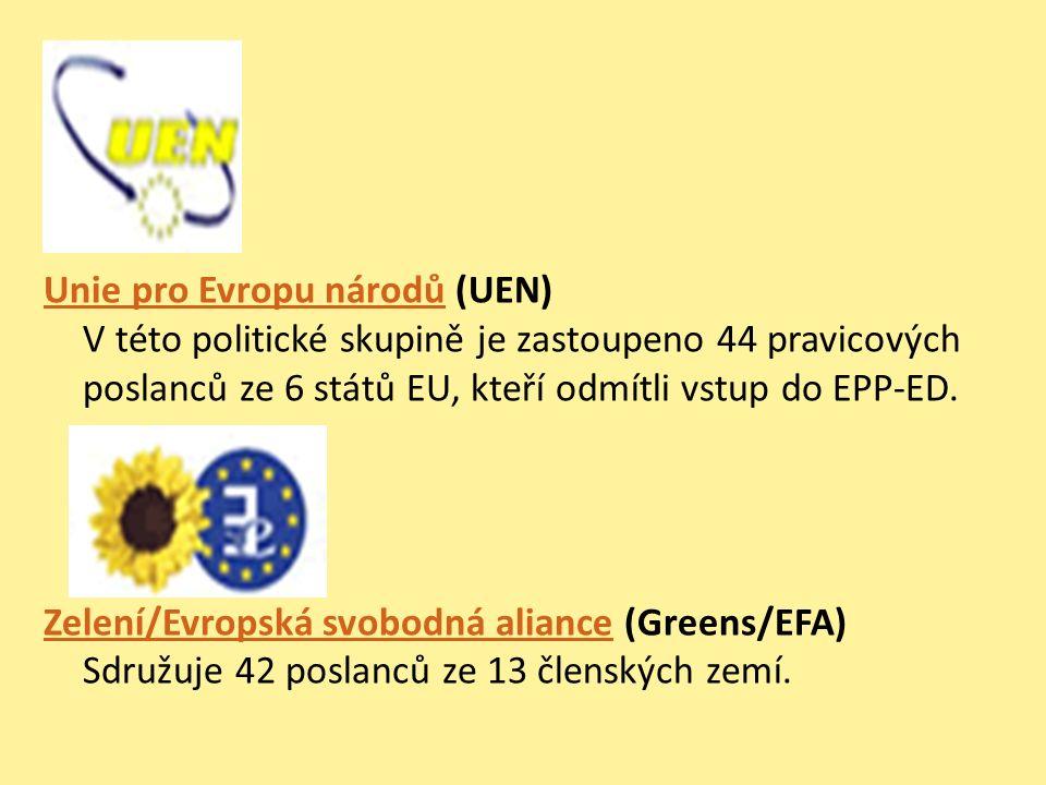 Unie pro Evropu národůUnie pro Evropu národů (UEN) V této politické skupině je zastoupeno 44 pravicových poslanců ze 6 států EU, kteří odmítli vstup d