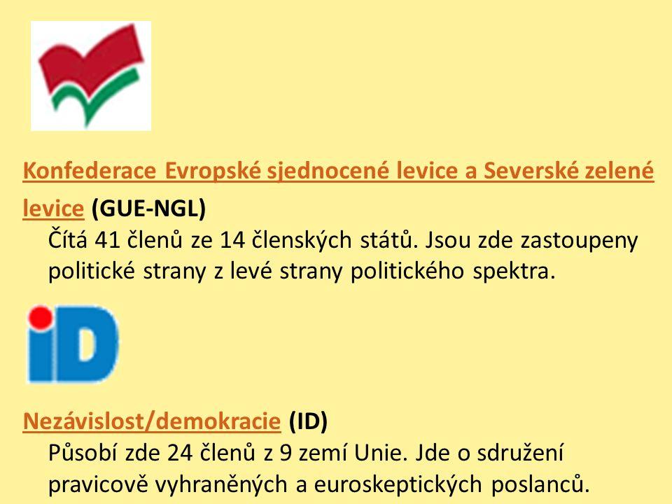 Konfederace Evropské sjednocené levice a Severské zelené levicelevice (GUE-NGL) Čítá 41 členů ze 14 členských států. Jsou zde zastoupeny politické str