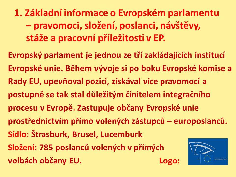 1. Základní informace o Evropském parlamentu – pravomoci, složení, poslanci, návštěvy, stáže a pracovní příležitosti v EP. Evropský parlament je jedno