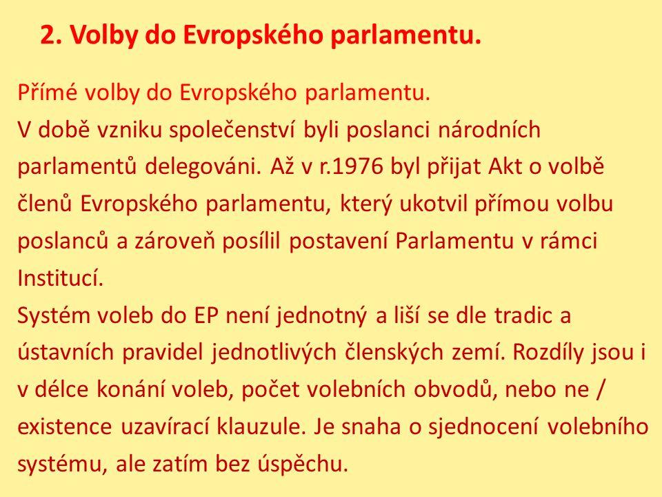 2. Volby do Evropského parlamentu. Přímé volby do Evropského parlamentu. V době vzniku společenství byli poslanci národních parlamentů delegováni. Až