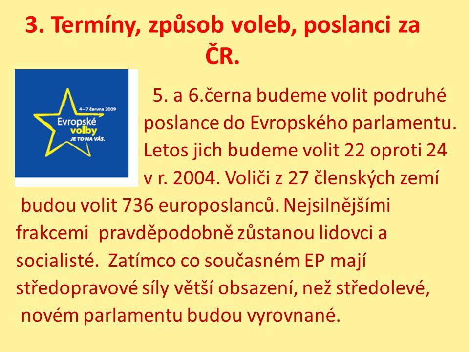 3. Termíny, způsob voleb, poslanci za ČR. 5. a 6.černa budeme volit podruhé poslance do Evropského parlamentu. Letos jich budeme volit 22 oproti 24 v