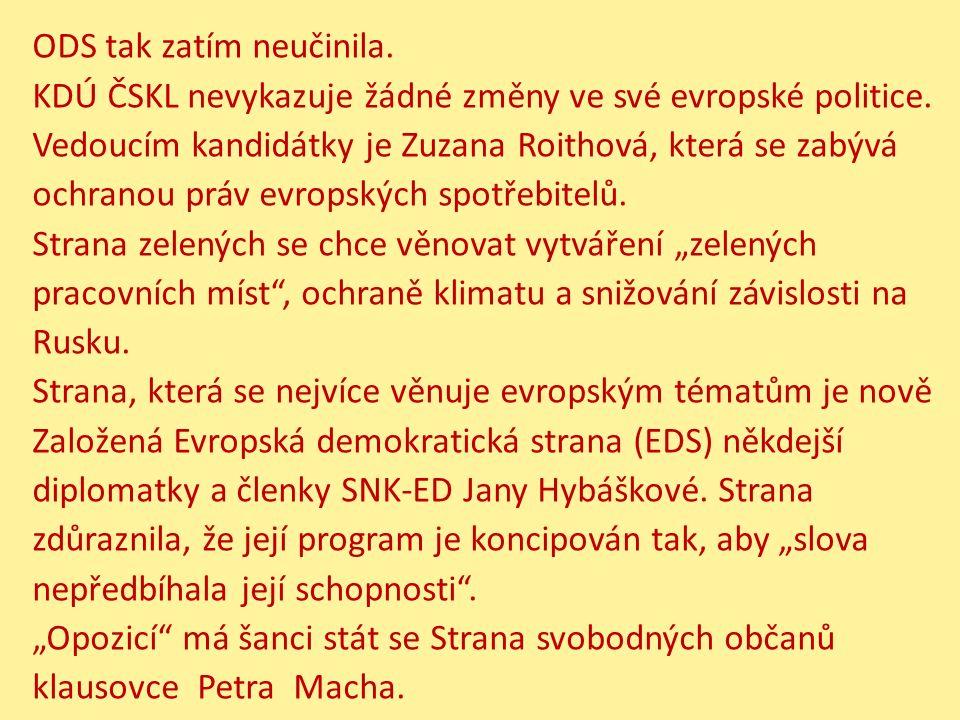 ODS tak zatím neučinila. KDÚ ČSKL nevykazuje žádné změny ve své evropské politice. Vedoucím kandidátky je Zuzana Roithová, která se zabývá ochranou pr