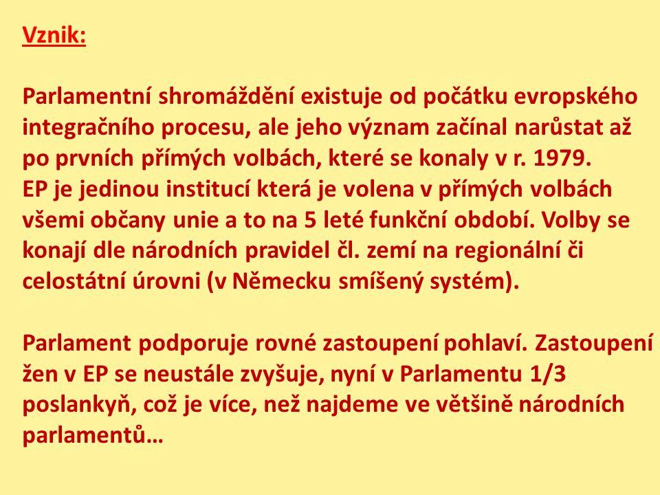 Vznik: Parlamentní shromáždění existuje od počátku evropského integračního procesu, ale jeho význam začínal narůstat až po prvních přímých volbách, které se konaly v r.