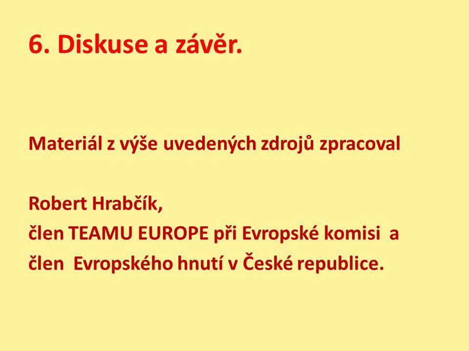 6. Diskuse a závěr. Materiál z výše uvedených zdrojů zpracoval Robert Hrabčík, člen TEAMU EUROPE při Evropské komisi a člen Evropského hnutí v České r