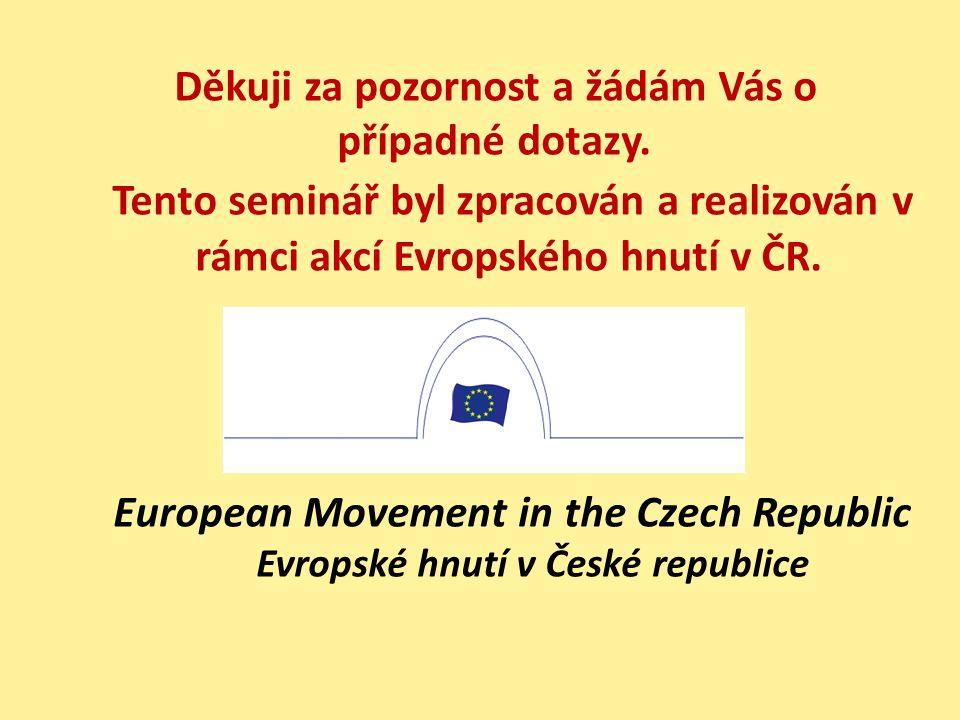 Děkuji za pozornost a žádám Vás o případné dotazy. Tento seminář byl zpracován a realizován v rámci akcí Evropského hnutí v ČR. European Movement in t