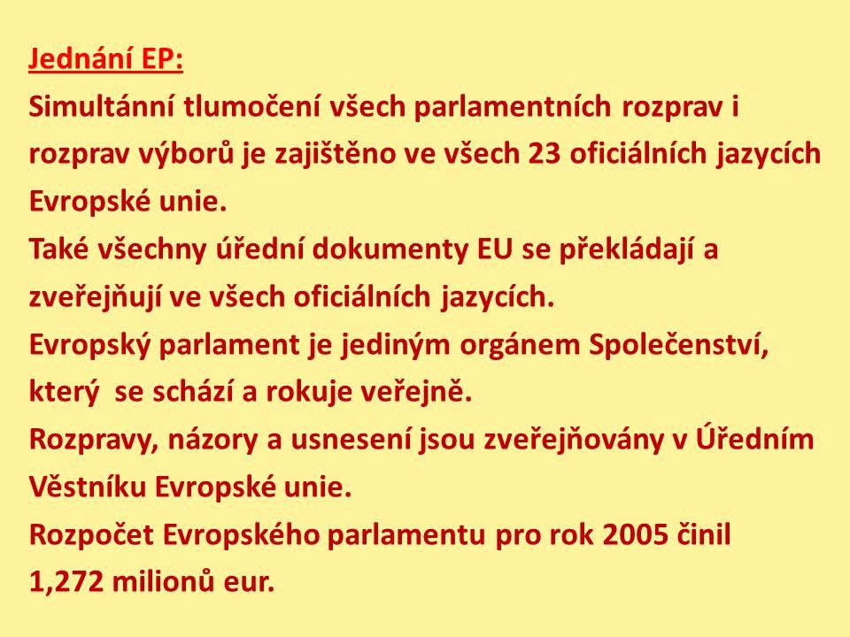 Jednání EP: Simultánní tlumočení všech parlamentních rozprav i rozprav výborů je zajištěno ve všech 23 oficiálních jazycích Evropské unie. Také všechn
