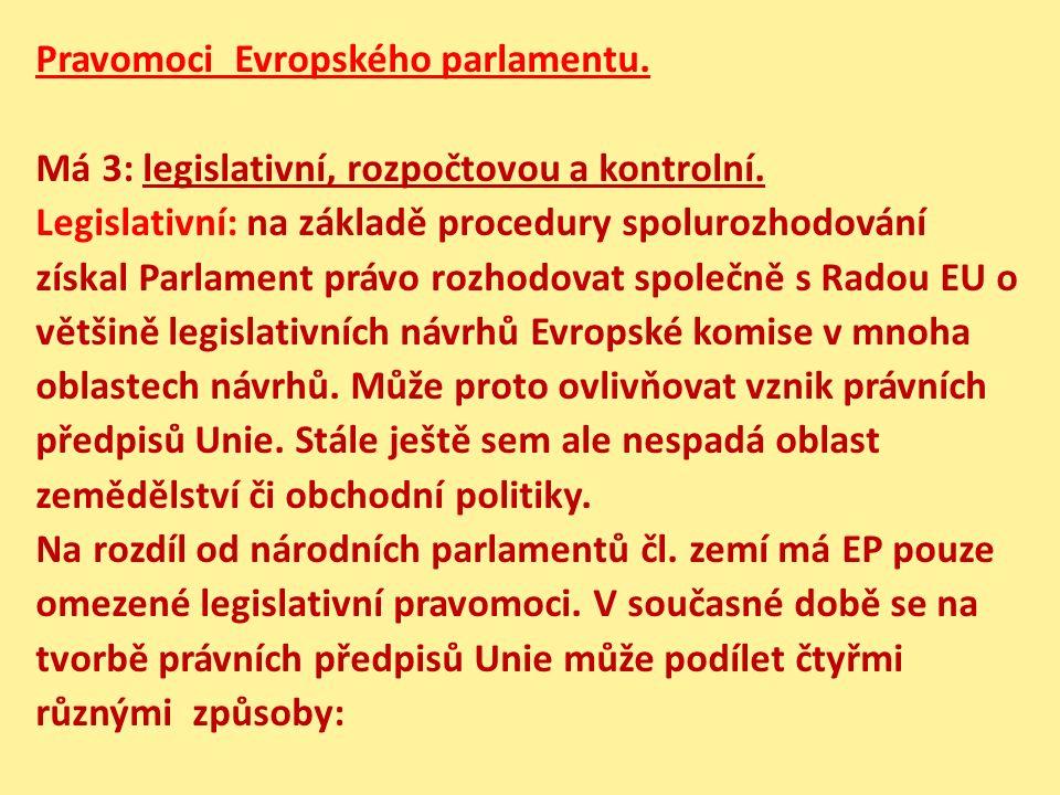 Pravomoci Evropského parlamentu. Má 3: legislativní, rozpočtovou a kontrolní. Legislativní: na základě procedury spolurozhodování získal Parlament prá