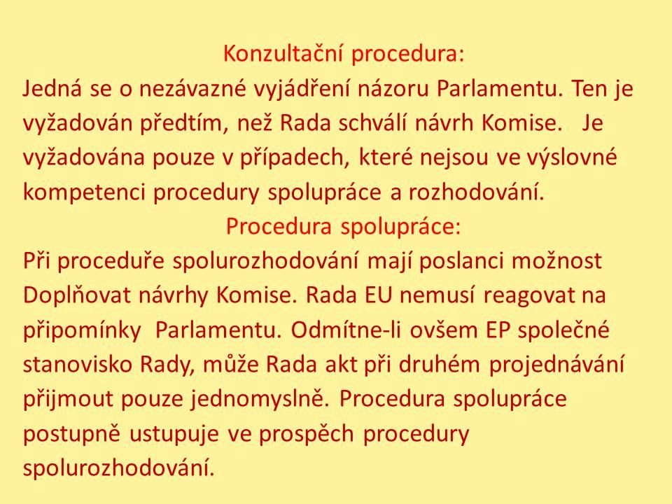 Konzultační procedura: Jedná se o nezávazné vyjádření názoru Parlamentu.