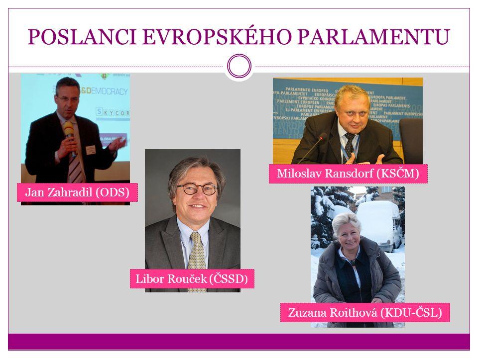 POSLANCI EVROPSKÉHO PARLAMENTU Jan Zahradil (ODS) Libor Rouček (ČSSD ) Miloslav Ransdorf (KSČM) Zuzana Roithová (KDU-ČSL)