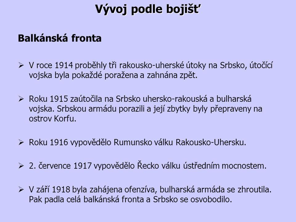 Vývoj podle bojišť Balkánská fronta  V roce 1914 proběhly tři rakousko-uherské útoky na Srbsko, útočící vojska byla pokaždé poražena a zahnána zpět.