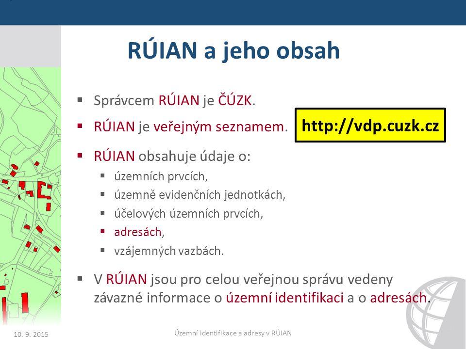 RÚIAN a jeho obsah  Správcem RÚIAN je ČÚZK.  RÚIAN je veřejným seznamem.