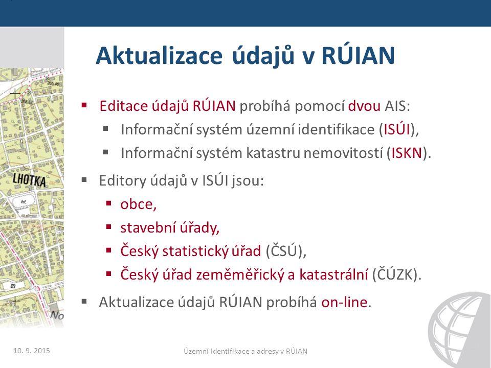 Speciální výstupy z ISÚI/RÚIAN  ČÚZK poskytuje na rezortních stránkách speciální výstupy z ISÚI/RÚIAN:  Adresní místa z celé ČR  Hierarchie prvků RÚIAN  Speciální výstupy jsou k dispozici na adrese: http://www.cuzk.cz/adresy  Soubory jsou k dispozici v CSV formátu  Speciální výstupy jsou určeny uživatelům, kteří mají problém zpracovat VFR.