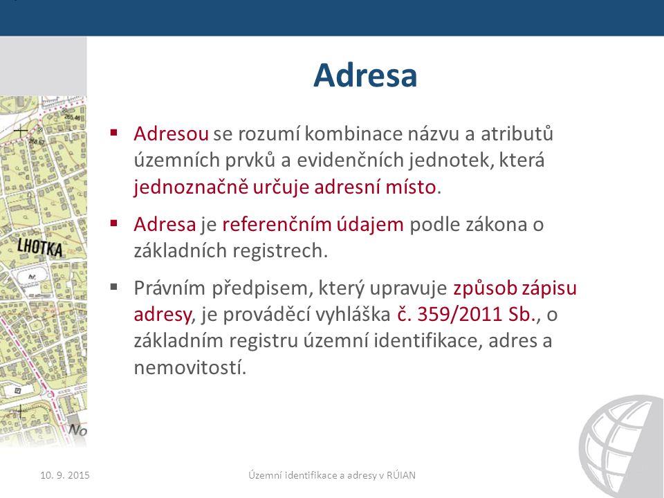 Adresa  Adresou se rozumí kombinace názvu a atributů územních prvků a evidenčních jednotek, která jednoznačně určuje adresní místo.
