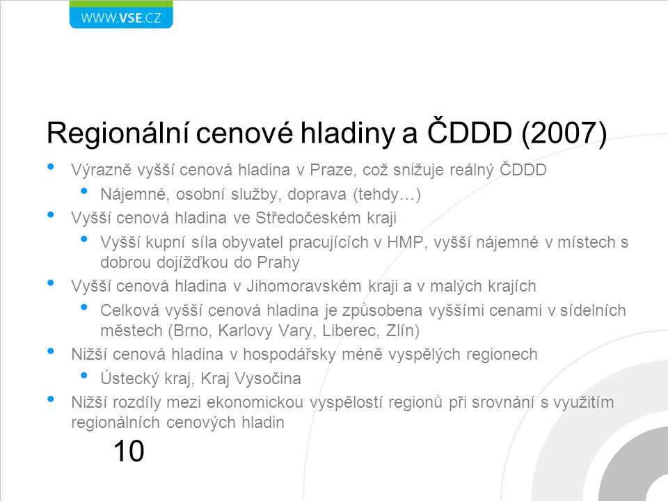 Regionální cenové hladiny a ČDDD (2007) Výrazně vyšší cenová hladina v Praze, což snižuje reálný ČDDD Nájemné, osobní služby, doprava (tehdy…) Vyšší cenová hladina ve Středočeském kraji Vyšší kupní síla obyvatel pracujících v HMP, vyšší nájemné v místech s dobrou dojížďkou do Prahy Vyšší cenová hladina v Jihomoravském kraji a v malých krajích Celková vyšší cenová hladina je způsobena vyššími cenami v sídelních městech (Brno, Karlovy Vary, Liberec, Zlín) Nižší cenová hladina v hospodářsky méně vyspělých regionech Ústecký kraj, Kraj Vysočina Nižší rozdíly mezi ekonomickou vyspělostí regionů při srovnání s využitím regionálních cenových hladin 10