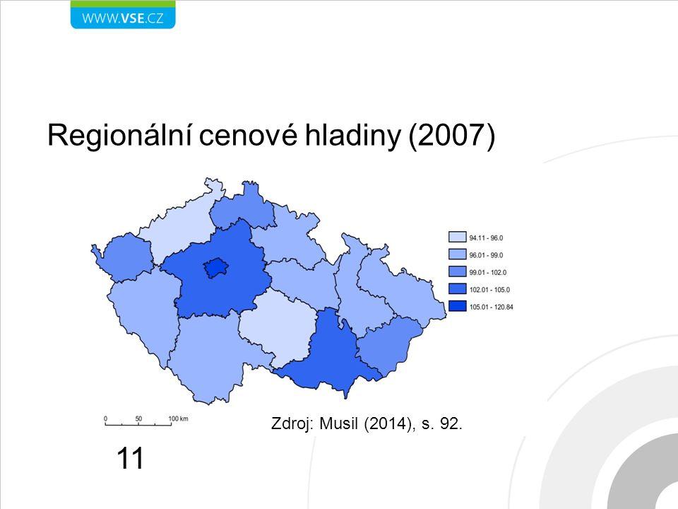 Regionální cenové hladiny (2007) 11 Zdroj: Musil (2014), s. 92.