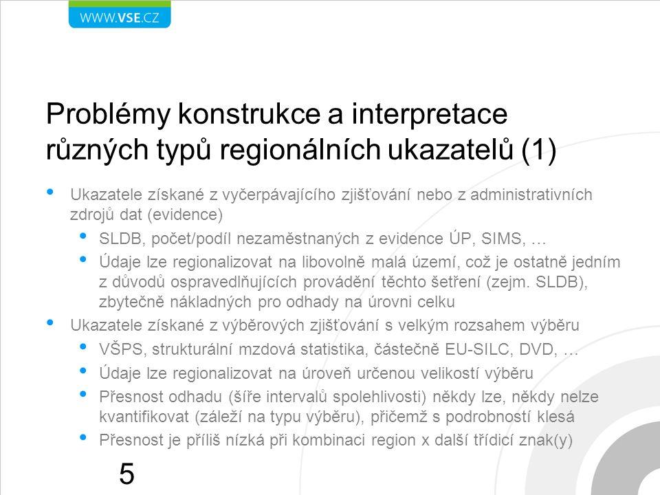 Problémy konstrukce a interpretace různých typů regionálních ukazatelů (1) Ukazatele získané z vyčerpávajícího zjišťování nebo z administrativních zdrojů dat (evidence) SLDB, počet/podíl nezaměstnaných z evidence ÚP, SIMS, … Údaje lze regionalizovat na libovolně malá území, což je ostatně jedním z důvodů ospravedlňujících provádění těchto šetření (zejm.