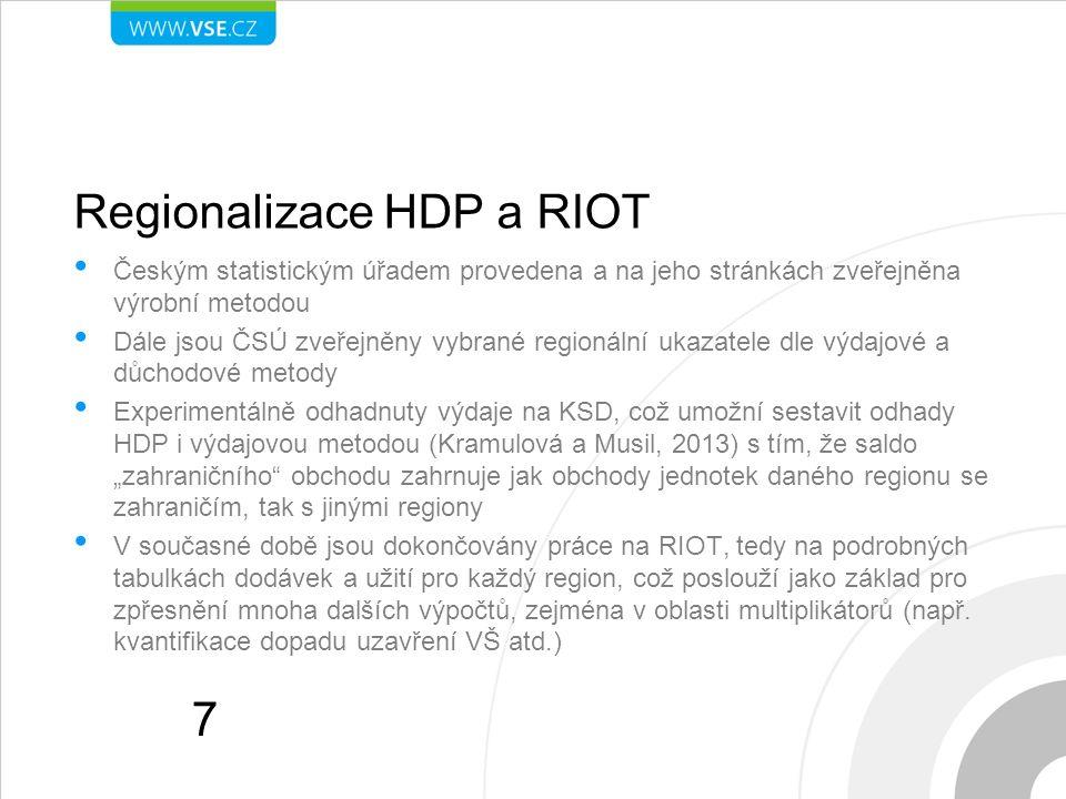 Regionalizace HDP a RIOT Českým statistickým úřadem provedena a na jeho stránkách zveřejněna výrobní metodou Dále jsou ČSÚ zveřejněny vybrané regionál