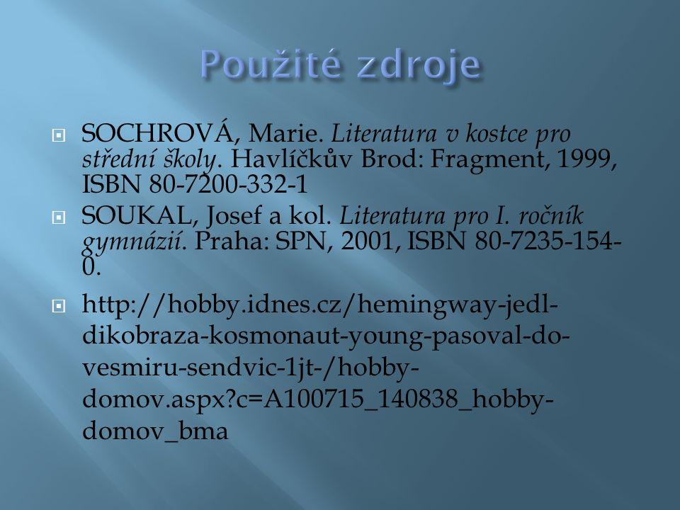  SOCHROVÁ, Marie. Literatura v kostce pro střední školy.