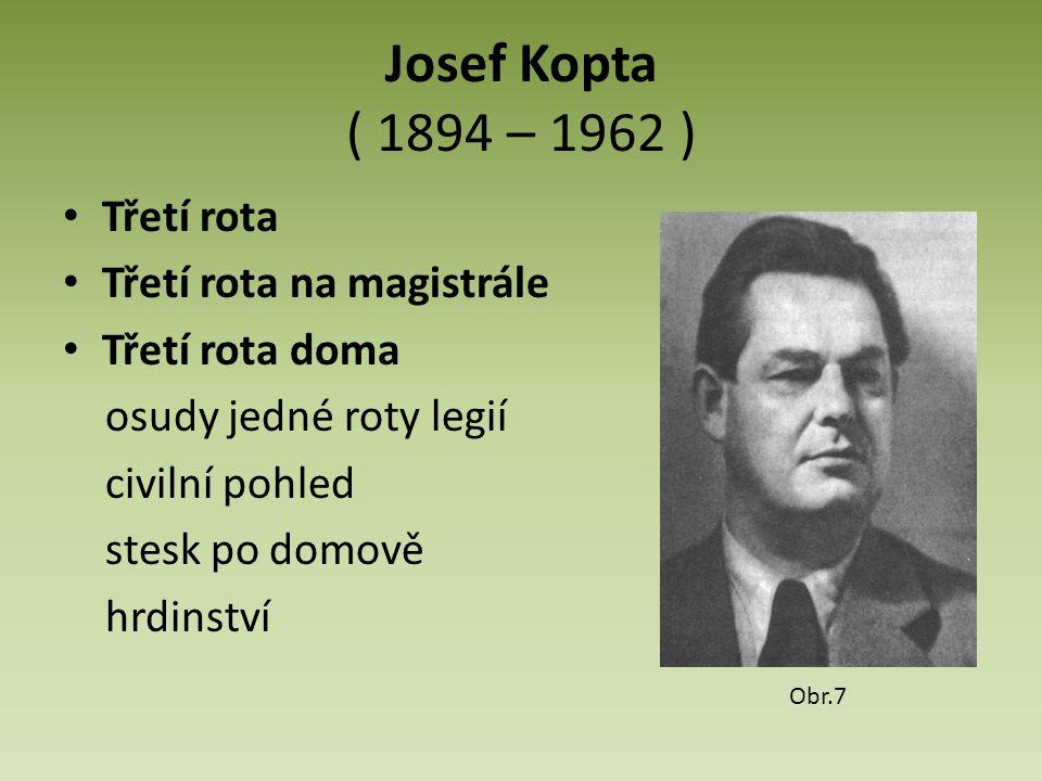 Josef Kopta ( 1894 – 1962 ) Třetí rota Třetí rota na magistrále Třetí rota doma osudy jedné roty legií civilní pohled stesk po domově hrdinství Obr.7