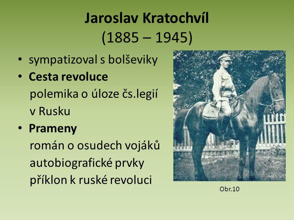 Jaroslav Kratochvíl (1885 – 1945) sympatizoval s bolševiky Cesta revoluce polemika o úloze čs.legií v Rusku Prameny román o osudech vojáků autobiografické prvky příklon k ruské revoluci Obr.10