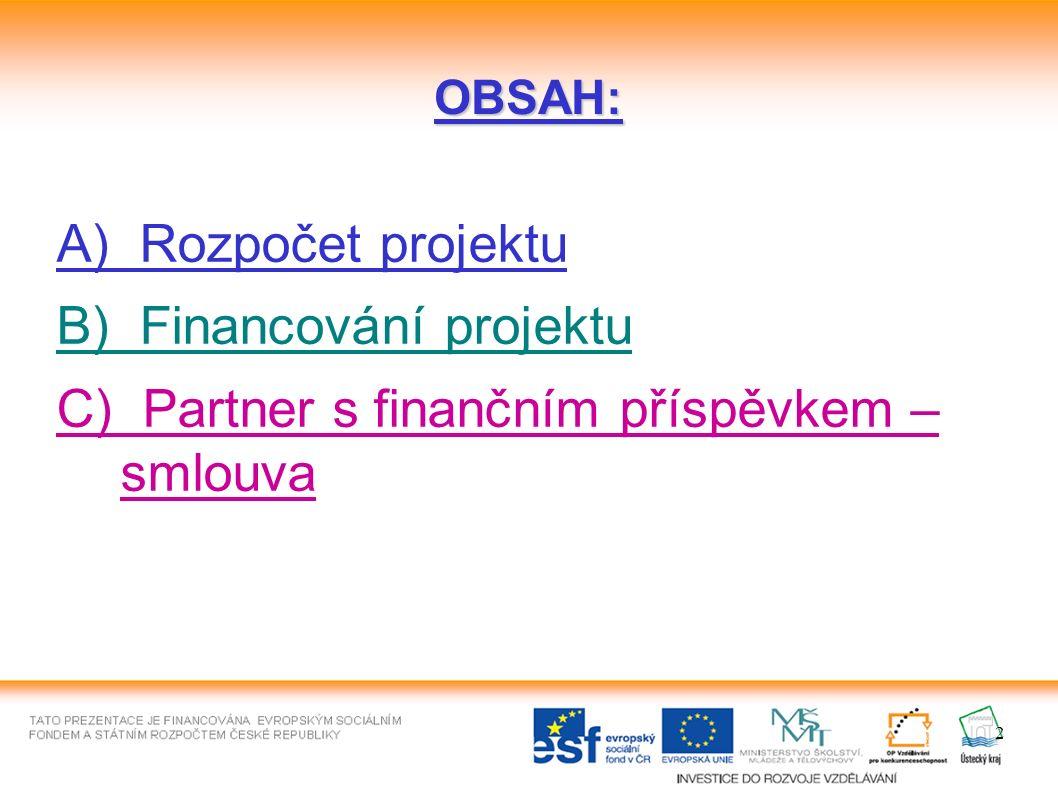 2 OBSAH: A) Rozpočet projektu B) Financování projektu C) Partner s finančním příspěvkem – smlouva