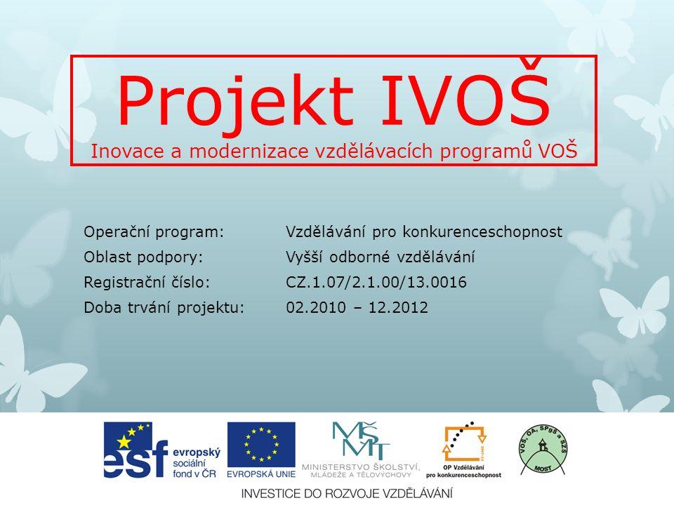 Projekt IVOŠ Inovace a modernizace vzdělávacích programů VOŠ Operační program: Vzdělávání pro konkurenceschopnost Oblast podpory: Vyšší odborné vzdělávání Registrační číslo: CZ.1.07/2.1.00/13.0016 Doba trvání projektu: 02.2010 – 12.2012