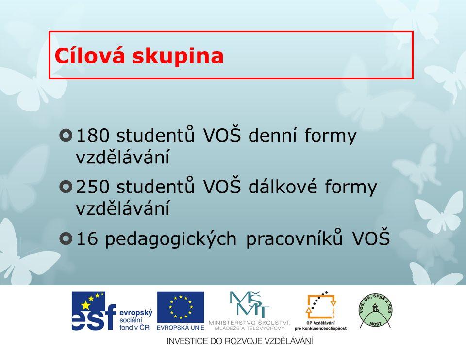  180 studentů VOŠ denní formy vzdělávání  250 studentů VOŠ dálkové formy vzdělávání  16 pedagogických pracovníků VOŠ Cílová skupina