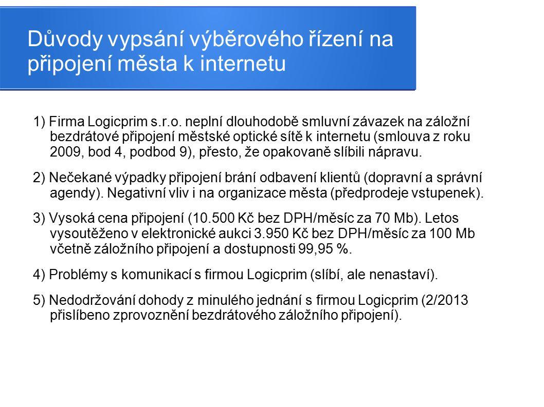Důvody vypsání výběrového řízení na připojení města k internetu 1) Firma Logicprim s.r.o. neplní dlouhodobě smluvní závazek na záložní bezdrátové přip
