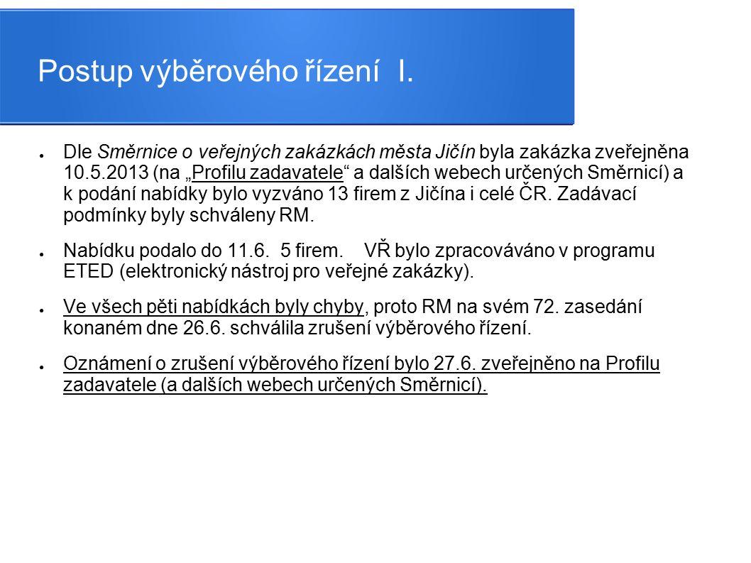 """Postup výběrového řízení I. ● Dle Směrnice o veřejných zakázkách města Jičín byla zakázka zveřejněna 10.5.2013 (na """"Profilu zadavatele"""" a dalších webe"""