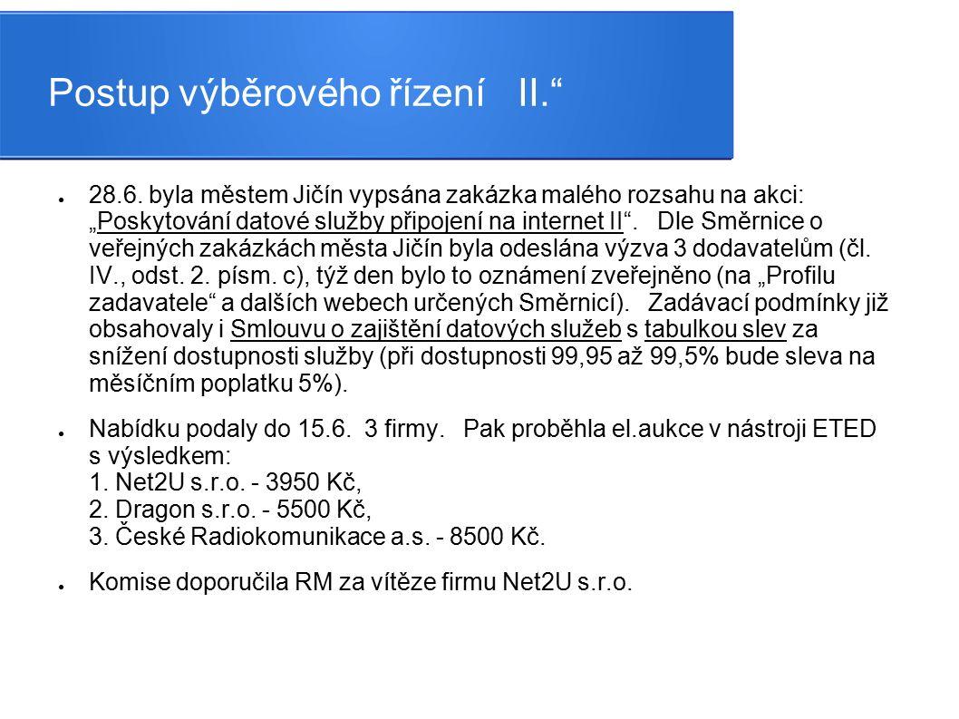"""Postup výběrového řízení II."""" ● 28.6. byla městem Jičín vypsána zakázka malého rozsahu na akci: """"Poskytování datové služby připojení na internet II""""."""