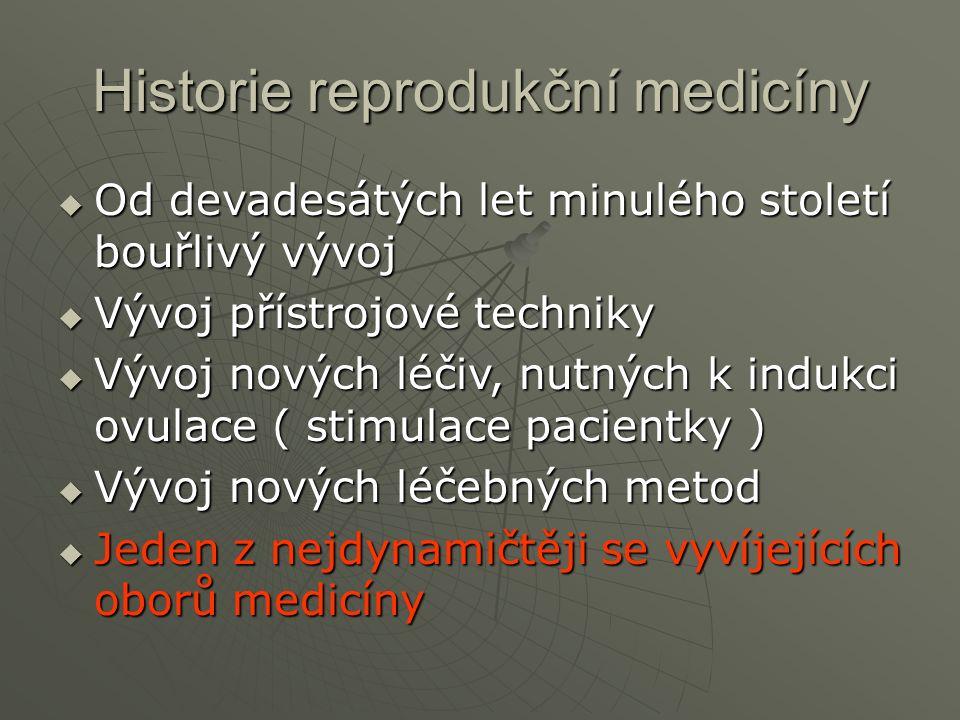 Historie reprodukční medicíny  Od devadesátých let minulého století bouřlivý vývoj  Vývoj přístrojové techniky  Vývoj nových léčiv, nutných k indukci ovulace ( stimulace pacientky )  Vývoj nových léčebných metod  Jeden z nejdynamičtěji se vyvíjejících oborů medicíny