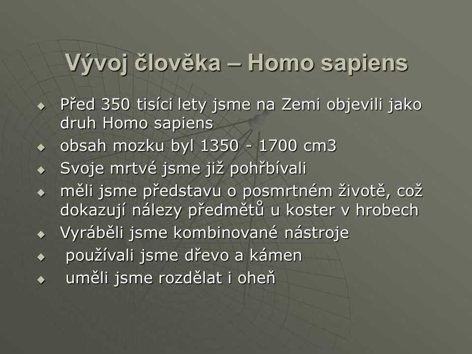 Vývoj člověka – Homo sapiens  Před 350 tisíci lety jsme na Zemi objevili jako druh Homo sapiens  obsah mozku byl 1350 - 1700 cm3  Svoje mrtvé jsme již pohřbívali  měli jsme představu o posmrtném životě, což dokazují nálezy předmětů u koster v hrobech  Vyráběli jsme kombinované nástroje  používali jsme dřevo a kámen  uměli jsme rozdělat i oheň